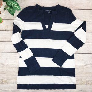 Tommy Hilfiger Navy and White Tunic Sweater